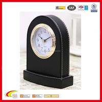 hot-seller upright design leather table alarm clock hotel alarm clock