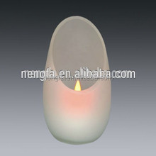 New Fashion Design Flickering Glass Jar Eggshell Solar Candle Light with LED
