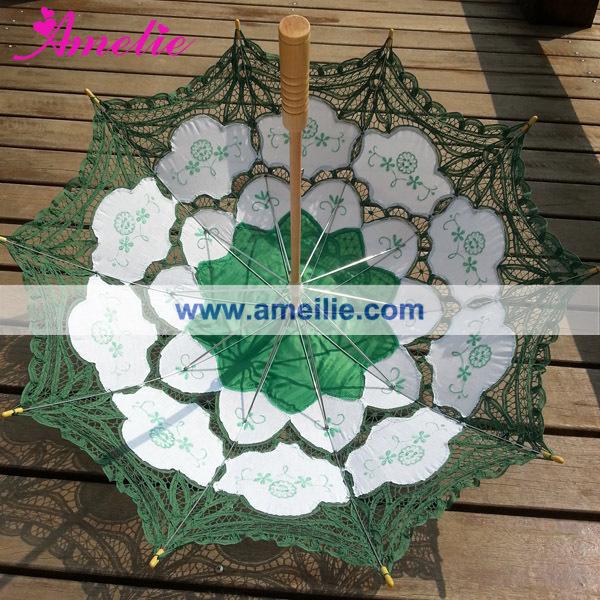 A0101 Christmas  Green lace parasol (1).jpg