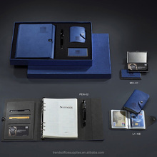 new products on china market office gift set, with pen and leather card holder, stainless steel business card holder