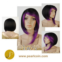 Affordable Short Unbalance Synthetic Kanekalon Toyokalon Wig Blue Purple
