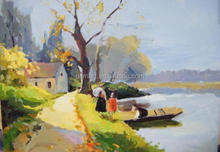 Small bridge flowing water stream tree elegant quiet rural landscape beautiful scenery abstract oil painting in canvas