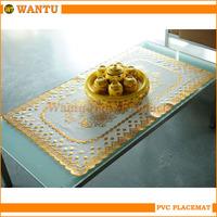 WT-605A Jinhua Fucun Shentangwu Wantu Hot-stamping Wholesales Table Cover Gold PVC Mats
