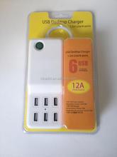 Free print LOGO 6 port usb wall charger adapter for Hua wei 4c (UK ,EU,US,AU version)