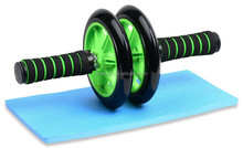 Small Fitness Equipment Green No Noise ab wheel 2 With Mat For Gym Exercise