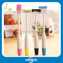 Creative figures look curved pen Students write silicone cartoon ball pen