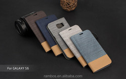 Folding PU Leather Flip Phone Cover Wallet Case with Card Holder Slot for Samsung Galaxy S6 Edge