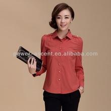 2013 de moda mujer de color rojo camisas