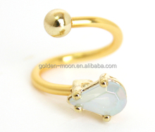 14G Pear Shaped Opal Gold Plated Spiral Twist Barbell Belly Navel Ring Body Piercing Jewellery