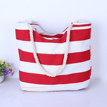 2015 New Summer Stiped Cotton Canvas Women Shoulder Bag Handbag Beach Bag