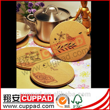 low price high quality modern stylish printed cork table mat for promotion