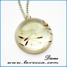Real Flower Resin Jewelry - Real Dandelion Seeds in Circular Resin Cabochon Pendant - Real Flower Necklace