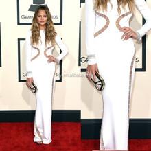 New Arrival Long sleeve Evening Dress Chrissy Teigen Sheath White Prom Dresses Long Celebrity Dresses