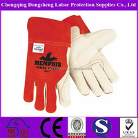 """12"""" Inch Wholesale cheap long red/blue leather working gloves for men/women"""