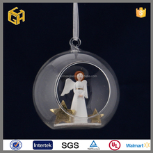 Clear christmas open glass baubles with angel ornaments