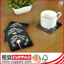 Logo print heat resistant cork backed placemats and coasters promotional custom mdf