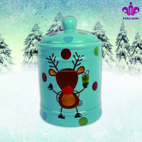 Direct factory ceramic christmas cookie containers with full handpainted