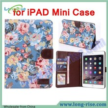 Beautiful Flowers Cloth Design Leather Book Cover for iPAD Mini Case with TPU Stand Cover