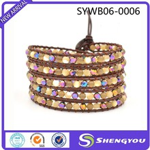2015 Most Stylish Multicolored Crystal And Thread On Brown Wrap Leather Bracelet Jewlery