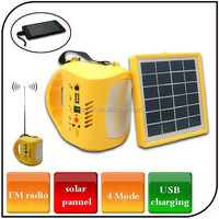 Emergency USB charging for mobile phone solar lantern light 4 mode rechargeable portable camping light with radio