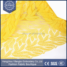 Wholesale yellow in stock embroidery leaf design african lace fabrics/ nice nigerian guipure lace 2015 for women dresses
