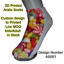 polyester printed ankle sock full colors printing desing