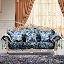 High Quality Lecong Showroom Seating Sofa Gold/ Silver Leaf Classic Sofa Luxury 2015
