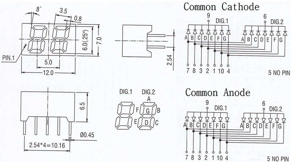 common anode/cathode 0.25 inch mini double 7 segment led display 2 digits