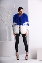 Blue and white wholesale price fox fur coat for women winter