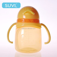 180ml impact strength cute animal penguin shape plastic drinking cup with handle/straw