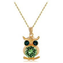 [NK056] Mighty Owl Pendant Green Crystal Necklace with gold plating, Hot wholesale fashion necklace