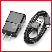 "5V ""2000mAh"" US Plug Power Charging Adapter + Cable for Samsung i9300 / N7100 + More - Black"