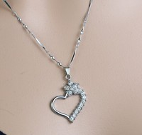Heart Pendant Silver Necklace Jewelry 2015 Fashion crystal zircon heart Valentine's day gift Silver Necklace