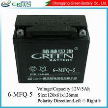 Dry Charged Mf 12 Volt 12v 5ah High Quality Motorcyle Part Maintenance Free Battery