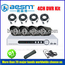 Besnt Hot sale product high resolution 700TVL waterproof IP 66 4ch h.264 dvr kit BS-T04M2 support OEM