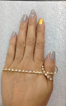 Fashion jewelry trend line-styled Austrian crystal handlet gold plated palm bracelet