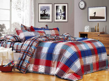 queen size cotton fabric checks print duvet cover set