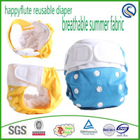 Happy flute baby cloth diaper one size reusable washable breathable nappy fabric nappy wholesale