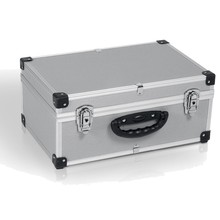 Aluminium Storage Flight CD Carry Case Tool Box with Handle, Lockable Clasps, Storage Dividers and Removable Lid