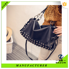 2016 shopping fashion korean girl hobo bag with rivet