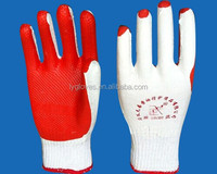Cotton lined rubber coated gloves for working
