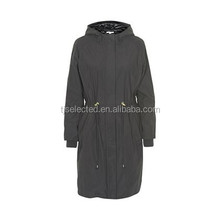 OEM Service Supply Type for Ladies hooded long coat waterproof with quilted sation lining and polypadding