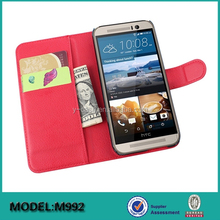 Hot selling ! wallet leather case with card slots for HTC one M9 cell phone