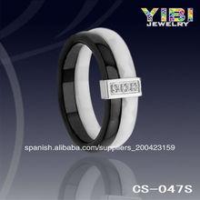 Joyería al por mayor, anillo directo de fábrica, anillo de cerámica de plata
