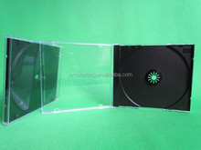 Slimline black Single dvd Case With clear outer wrap for an inlay