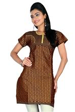 Triveni Half-Sleeved Round Neck Brown Cotton Kurti- KK264