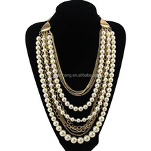 Latest mulit layers beads and chain chunky necklace, pearl beads layers necklace(RS-N155037)
