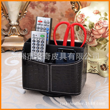 Shenzhen factory custom high-end remote control storage box PU leather Rotate desktop organize admission black crocodile