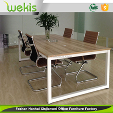 modern office meeting table design with white metal legs