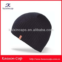 wholesale custom plain knitted caps/ hats black and yellow striped/ black beanie